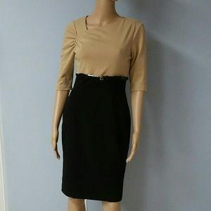 Calvin Klein black and tan dress. Size 2